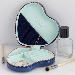 Navy & Mint Heart Travel Jewellery Case