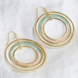 Triple Pastel Beaded Spinning Hoops