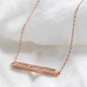 Rose Gold Horizontal Hammered Bar Necklace (LI04 Bar)
