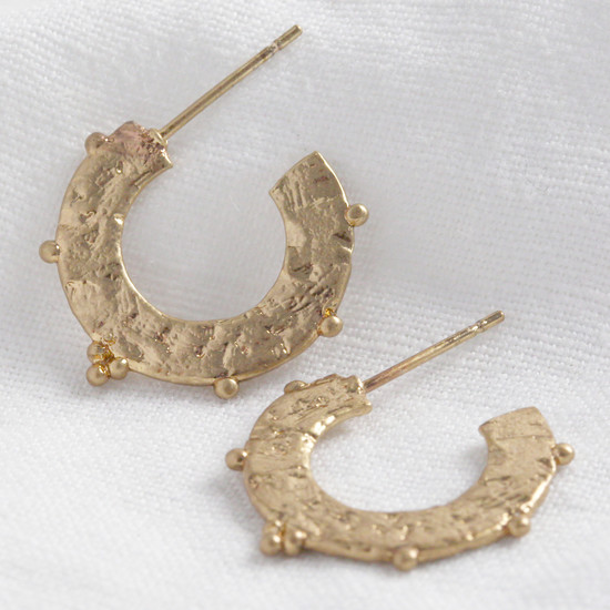 Textured ball edge washer hoops in worn gold