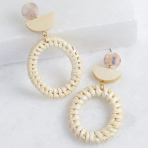 Straw and Wood Oval Natural Hoop Drop Earrings