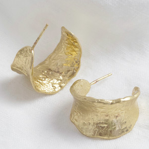 Organic Wide Worn Gold Hoops