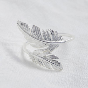 Silver Double Feather Ring