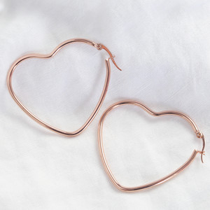 Shiny  rose gold large Heart shape earrings