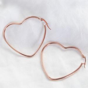 Shiny  rose gold large Heart shape earrings
