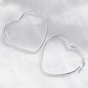 Shiny silver large Heart shape earrings