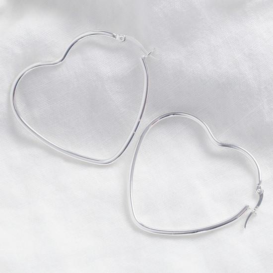 Shiny silver large Heart shape earrings