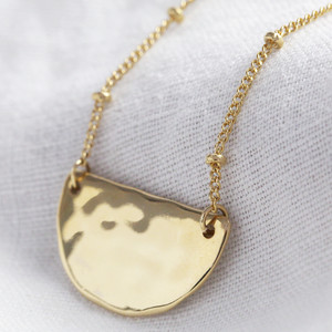 Hammered Half Moon Necklace in gold plate