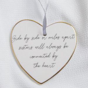 Sisters Heart Ceramic Hanging Dec