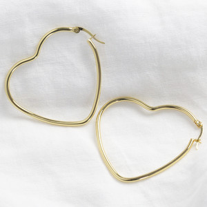 Shiny  gold large Heart shape earrings