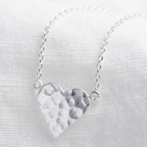 Silver hammered bigger heart necklace
