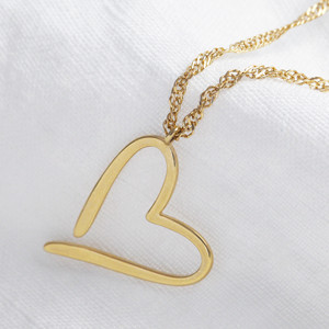 Signature Outline Heart Necklace in Gold