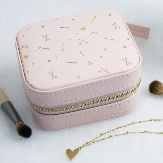 Pink with Gold Arrows Small Square Travel Jewellery Case