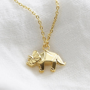 Triceratops origami necklace gold