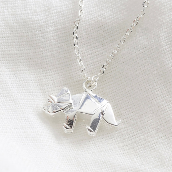 Triceratops origami necklace shiny silver