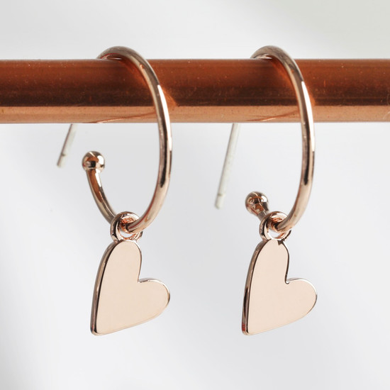 Falling Heart on Earring Hoop in rose gold plate