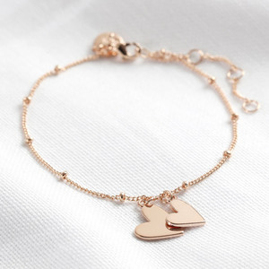 Falling Double Hearts on Satellite chain bracelet in rose gold plate