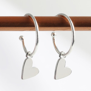 Falling Heart on Earring Hoop in silver plate