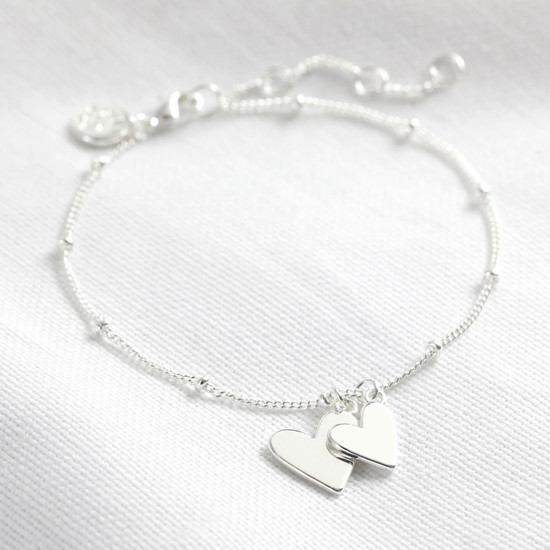 Falling Double Hearts on Satellite chain bracelet in silver plate