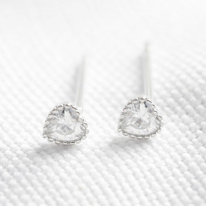 Sterling silver diamante heart stud earring
