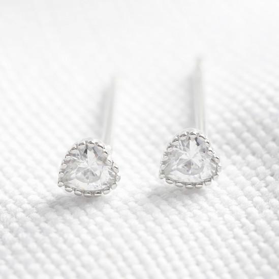 Sterling silver diamante heart stud earring
