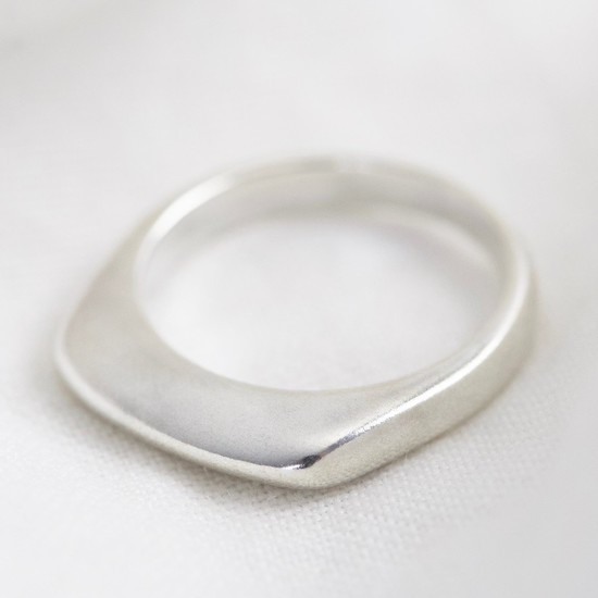 Sterling Silver Thin Geometric Ring - size large