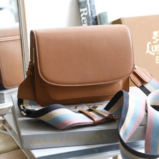 Flapover Tan Leather Bag with Striped Webbing Strap pink/blue/cream/black