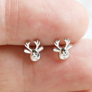 Tiny Reindeer Studs in 925 silver.
