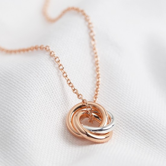 3 Rings Necklace - 2 rings Rose Gold 1 ring Silver