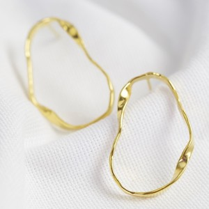 Organic Twisted Statement Earrings Gold