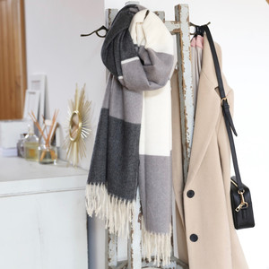 Grey Block Stripe Scarf
