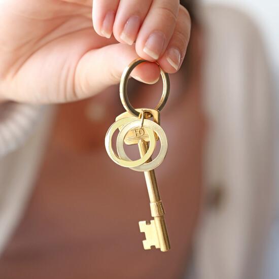 Gold Interlocking Rusian Ring Keyring
