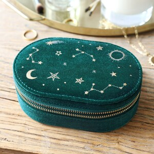 Teal Starry night printed velvet Oval jewellery case