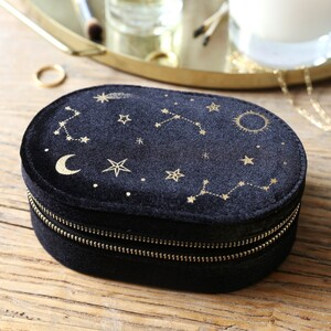 Black Starry night printed velvet Oval jewellery case