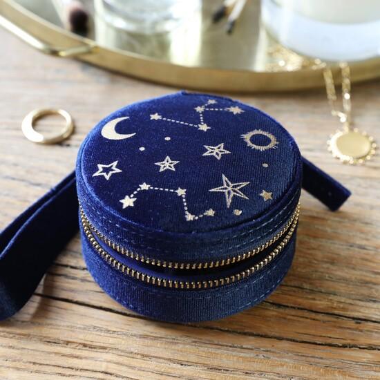 Navy Starry night printed velvet round jewellery case