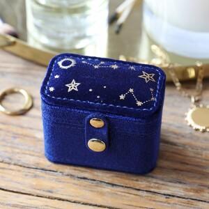 Navy Starry night printed velvet ring case