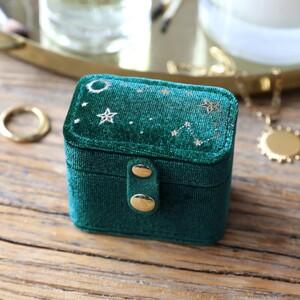Teal Starry night printed velvet ring case
