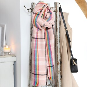 Rainbow and Pink Tartan Blanket Scarf