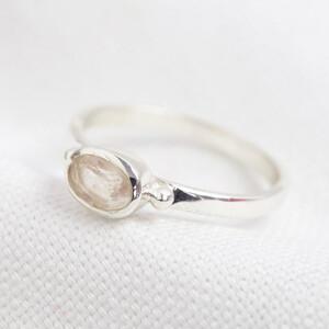 October Rose Quartz ring in Sterling Silver 7