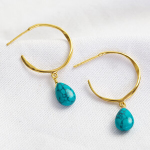December Turquoise Blue Hoop Earrings in 14ct Gold Plated