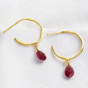 January Garnet Red Hoop Earrings 14ct Gold Plated