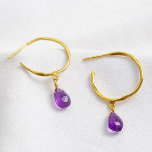 February Amethyst Purple Hoop Earrings 14ct Gold