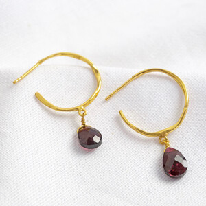 July Ruby Red Hoop Earrings in 14ct Gold Plated