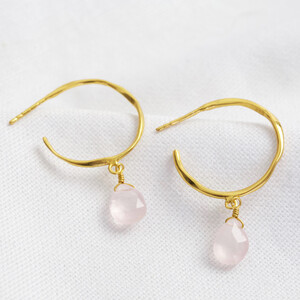 October Rose Quartz Pink Hoop Earrings in 14ct Gold Plated