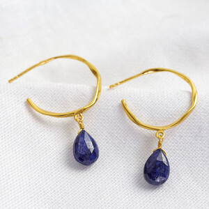 September Sapphire Blue Hoop Earrings in 14ct Gold Plated