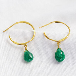 May Emerald Green Hoop Earrings 14ct Gold Plated