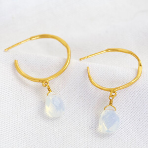 April Glass Opal Hoop Earrings 14ct Gold Plated