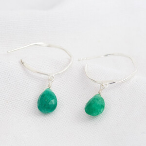 May Emerald Green Hoop Earrings in Sterling silver