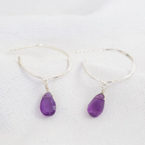 February Amethyst Purple Hoop Earrings in Sterling silver