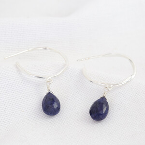 September Sapphire Blue Hoop Earrings in Sterling silver